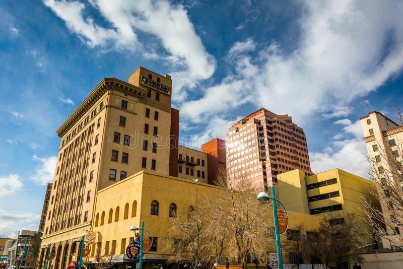大厦在街市亚伯科基,新墨西哥 免版税库存图片