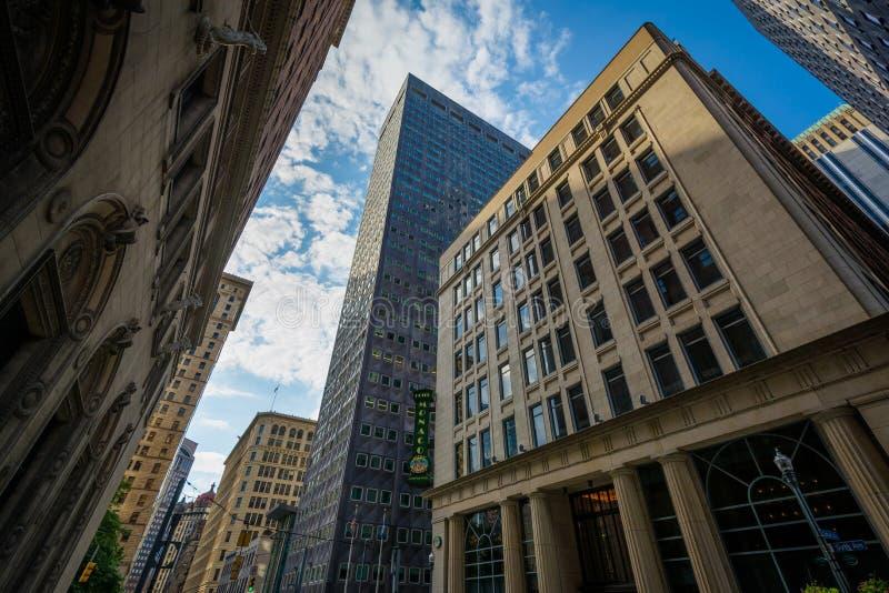 大厦在街市匹兹堡,宾夕法尼亚 库存图片