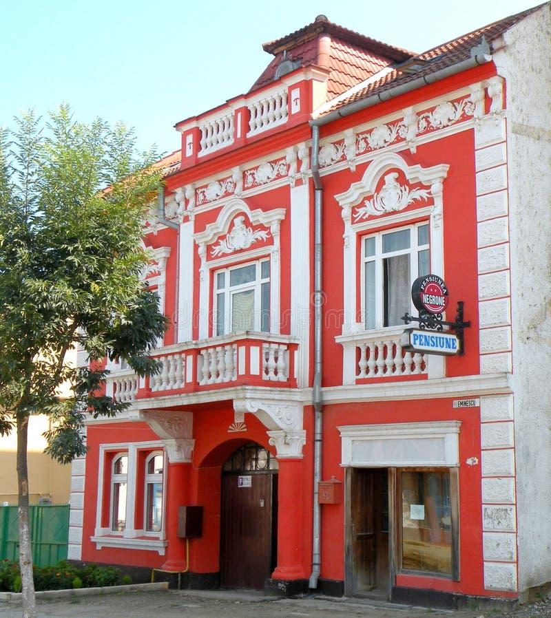 大厦在锡比乌盐矿镇 盐湖在锡比乌盐矿镇,在锡比乌Hermanstadt附近 图库摄影