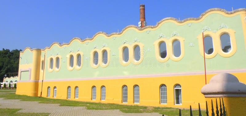 大厦在锡比乌盐矿镇 盐湖在锡比乌盐矿镇,在锡比乌Hermanstadt附近 免版税库存图片