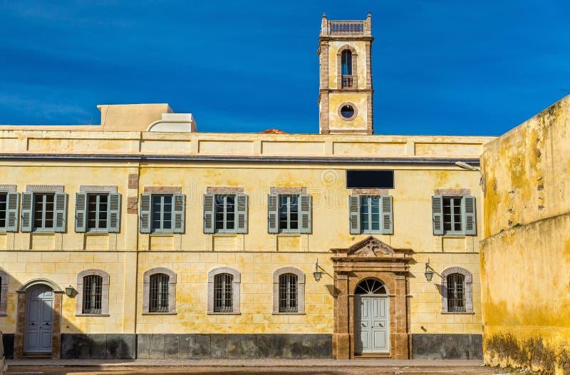 大厦在Mazagan,杰迪代,摩洛哥葡萄牙镇  免版税库存图片