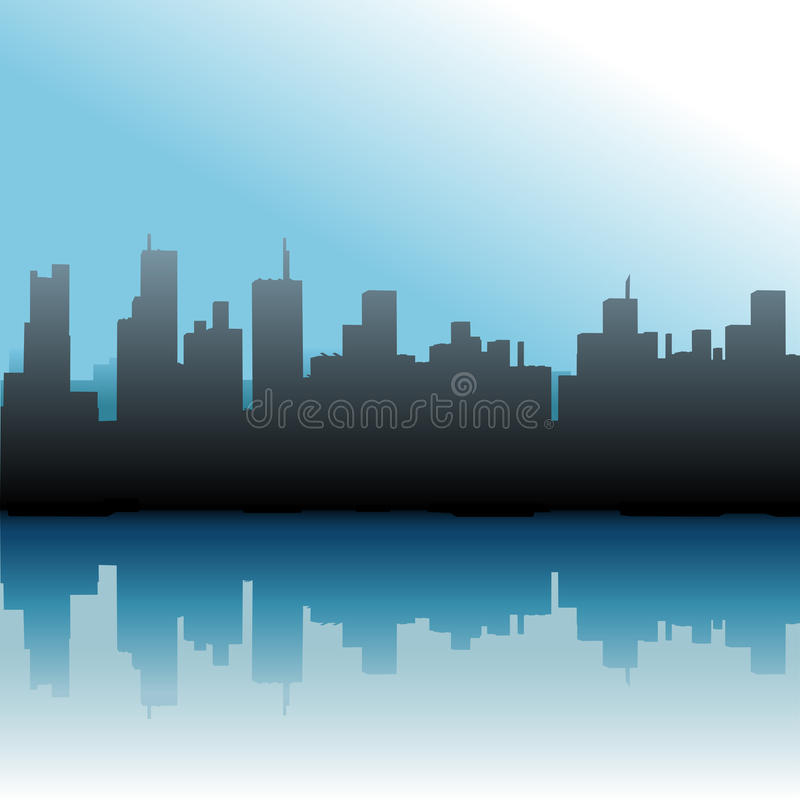 大厦城市海运都市天空的地平线 皇族释放例证