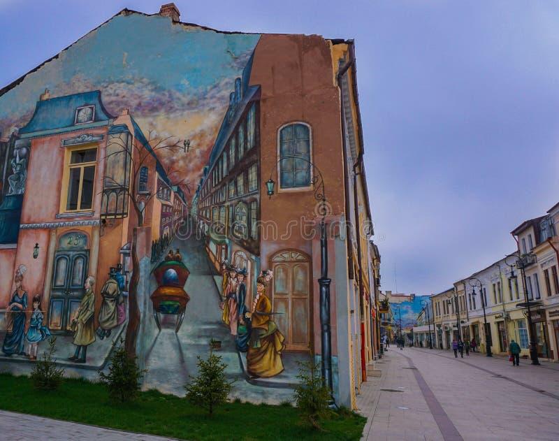 大厦墙壁现实透视绘画在克拉约瓦老中心罗马尼亚 免版税库存照片