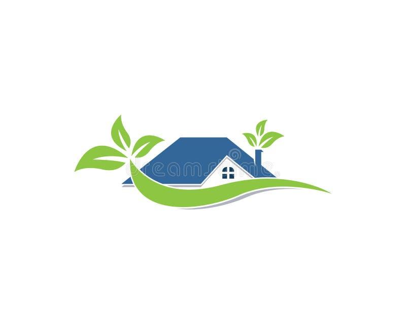 大厦家庭自然商标传染媒介模板 库存例证