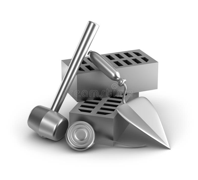 大厦工具: 锤子、卷尺、修平刀和砖 向量例证
