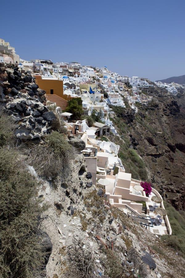 大厦希腊小山海岛santorini 库存图片