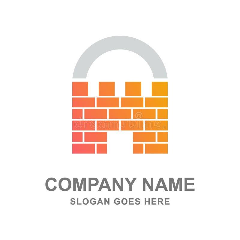 大厦建筑学保护保险挂锁商标 库存图片