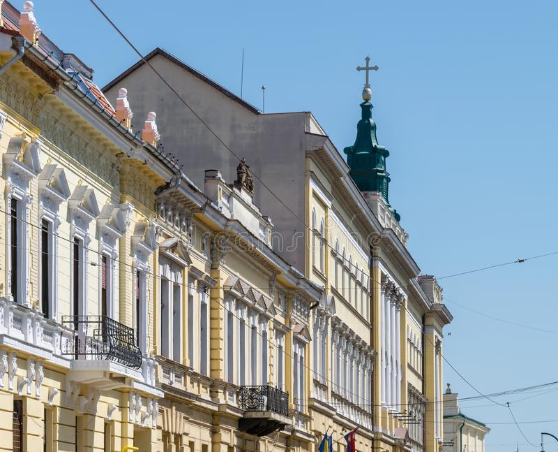 大厦建筑学在奥拉迪亚,罗马尼亚, Crisana地区 免版税库存照片