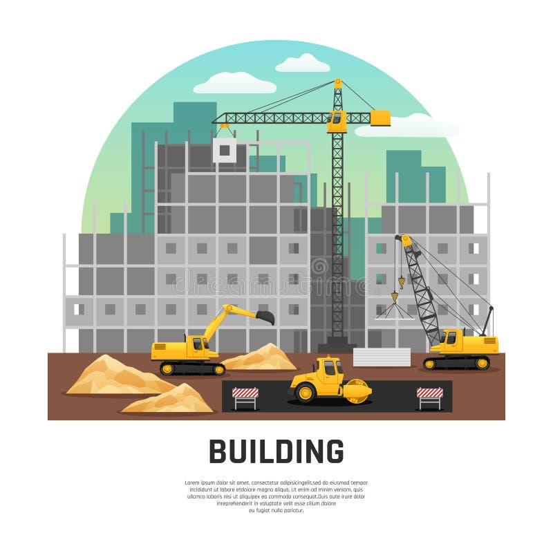 大厦建筑机械平的构成 库存例证