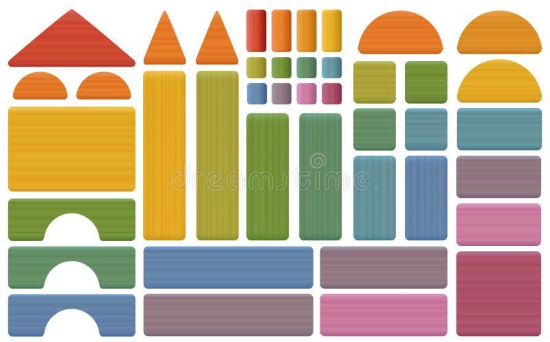 大厦成套工具五颜六色的玩具块 皇族释放例证