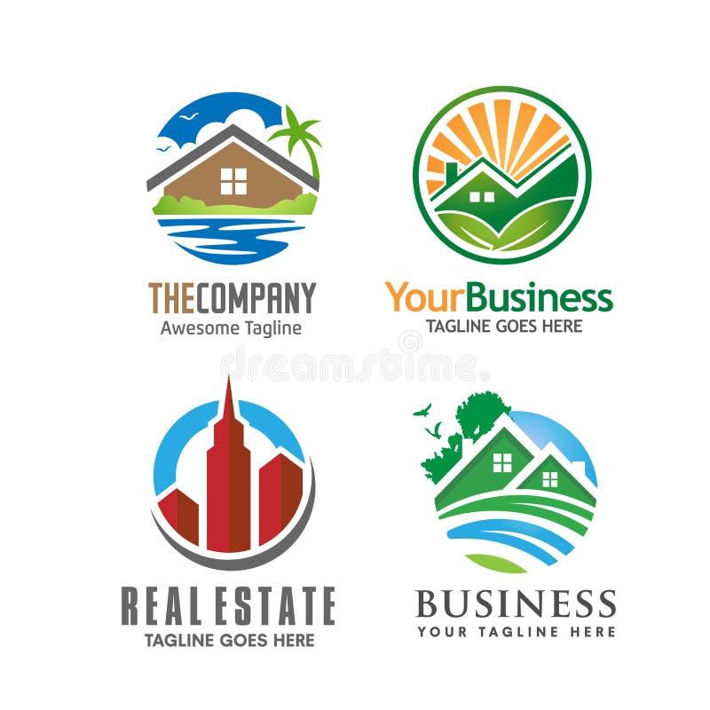 大厦房子和房地产商标 库存例证