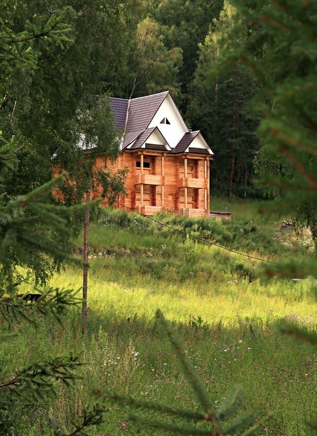 大厦房子未完成木 库存照片