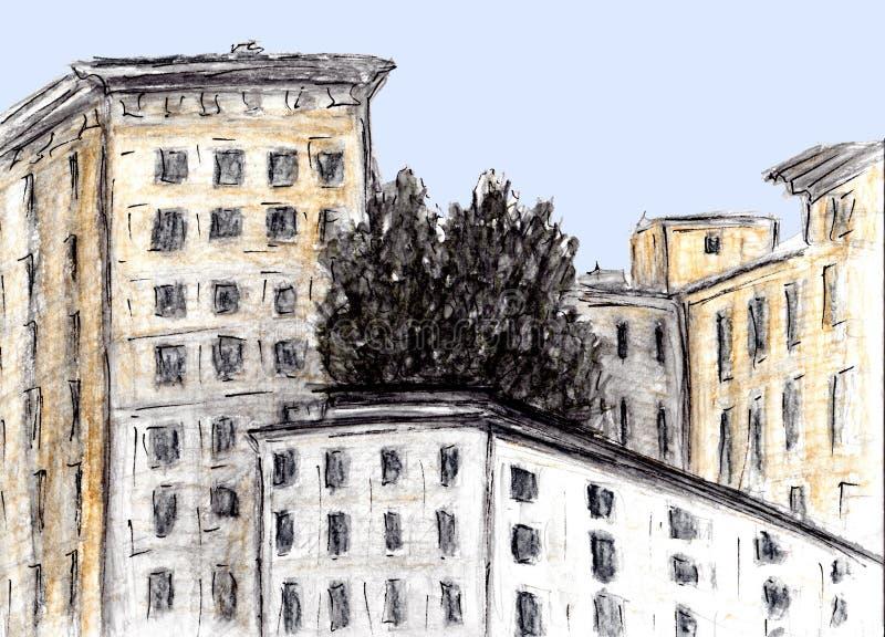 大厦手拉的剪影  水彩和木炭技术 议院的例证在欧洲老镇 葡萄酒旅行岗位 向量例证