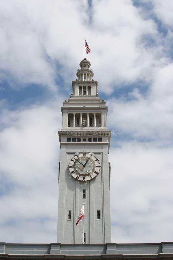 大厦时钟轮渡弗朗西斯科・圣塔 库存图片