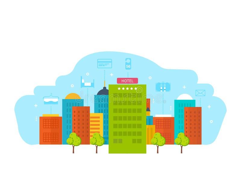 大厦是现代旅馆,有周围的,附近的城市基础设施 向量例证