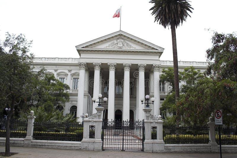 大厦智利国会de前面的圣地亚哥 免版税库存照片