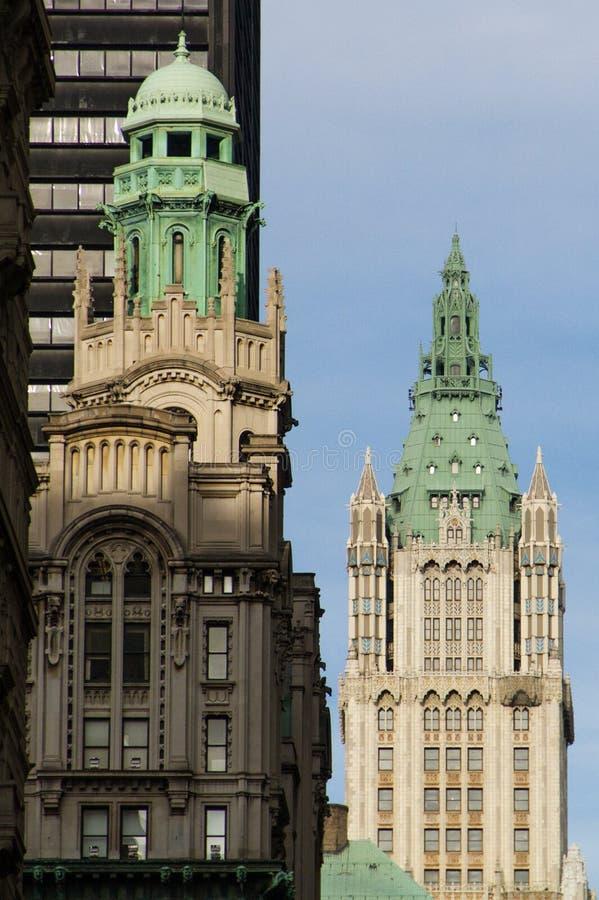 大厦曼哈顿晚上woolworth 免版税库存照片