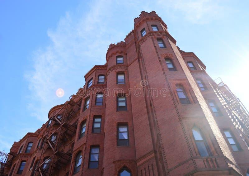 大厦由砖,波士顿制成 库存图片