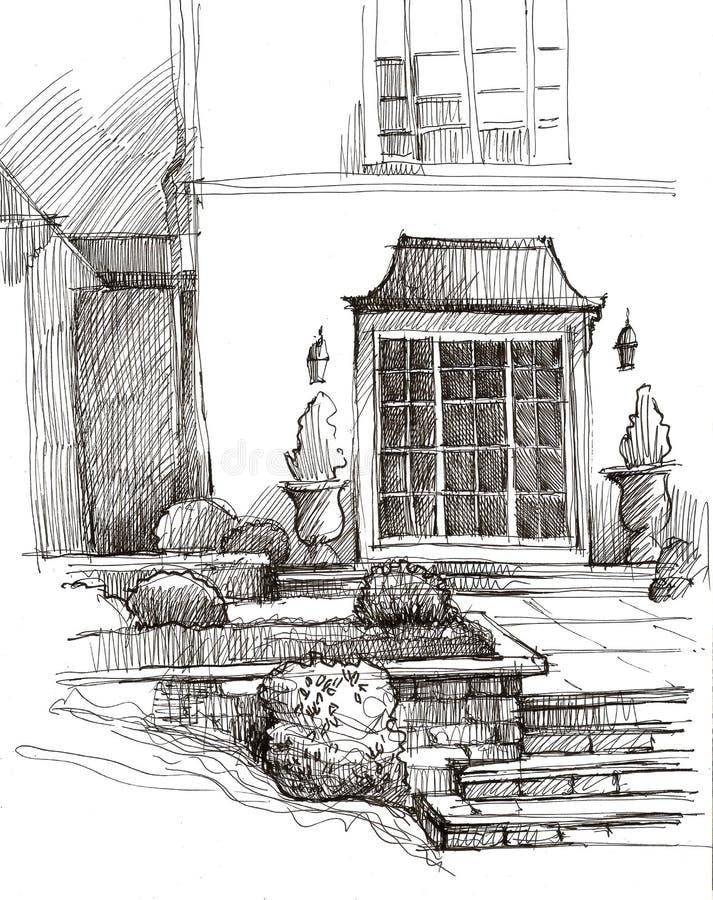 大厦的门面,装饰用与花和装饰灌木的花盆 街道改善 免版税图库摄影