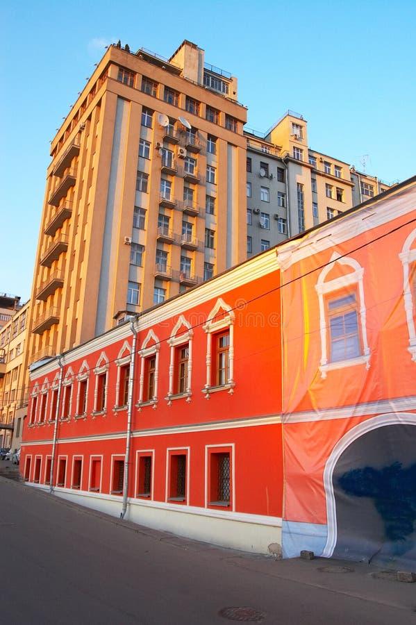 大厦红色黄色 库存照片