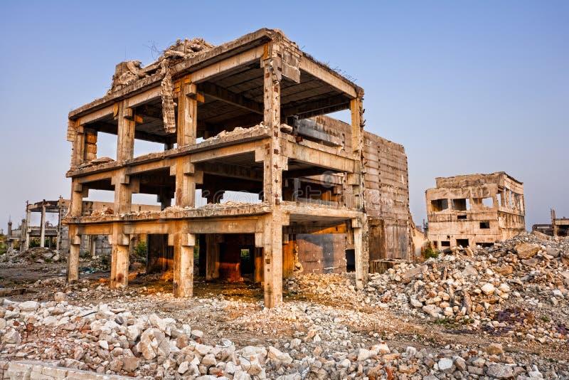 大厦被破坏的灾害自然 库存照片