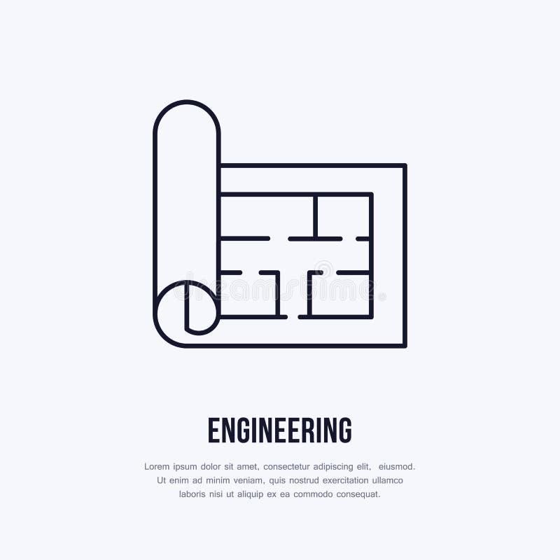 大厦计划 建筑纸,设计传染媒介平的线象 技术图画例证,标志 向量例证