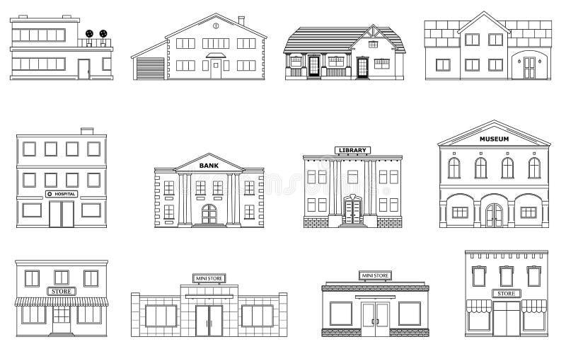 大厦设置了 住宅村庄,商店,购物中心,船,博物馆,医院,图书馆,在白色背景隔绝的银行大楼 向量例证