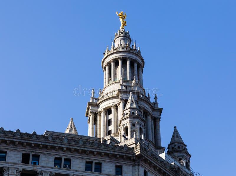 大厦详细资料曼哈顿市政雕象 免版税库存图片