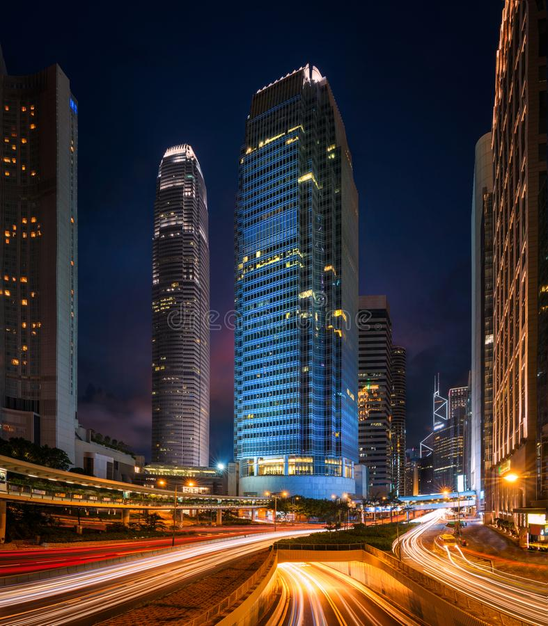 大厦都市风景在香港 免版税图库摄影