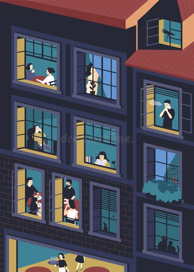 大厦门面与被打开的居住窗口和的人的里面 吃的男人和的妇女,抽烟,读,谈话  向量例证