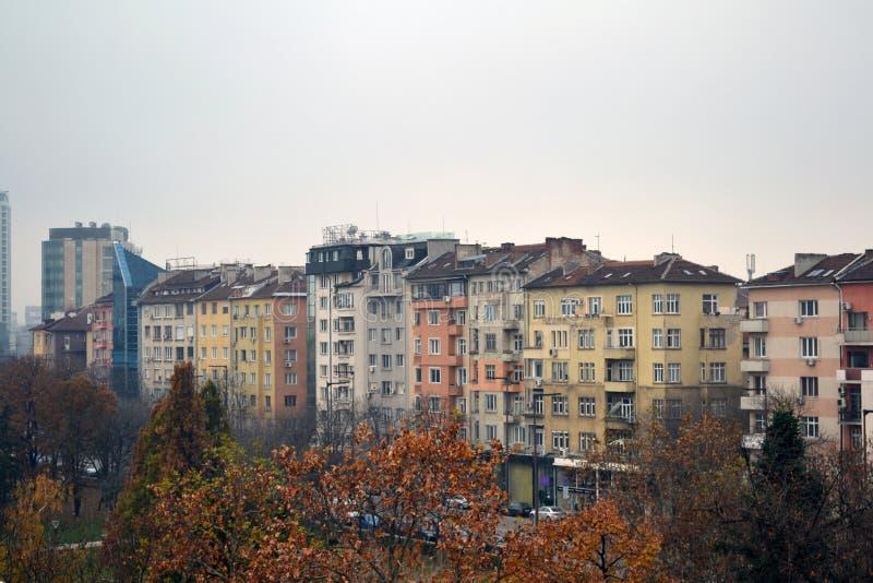 大厦阳台视图在索非亚,保加利亚的中心 库存照片
