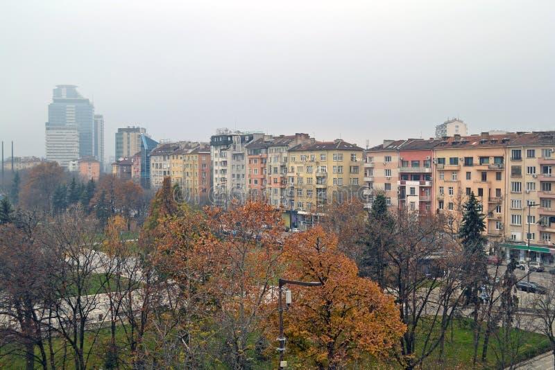 大厦阳台视图在索非亚,保加利亚的中心 免版税库存照片