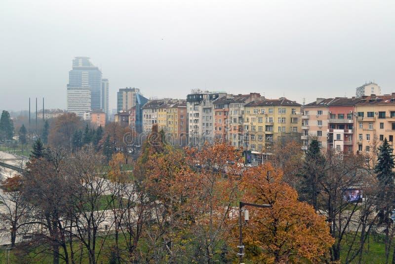 大厦阳台视图在索非亚,保加利亚的中心 图库摄影