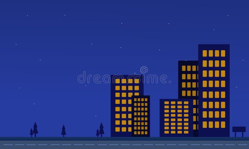 大厦风景剪影有蓝色背景 库存例证