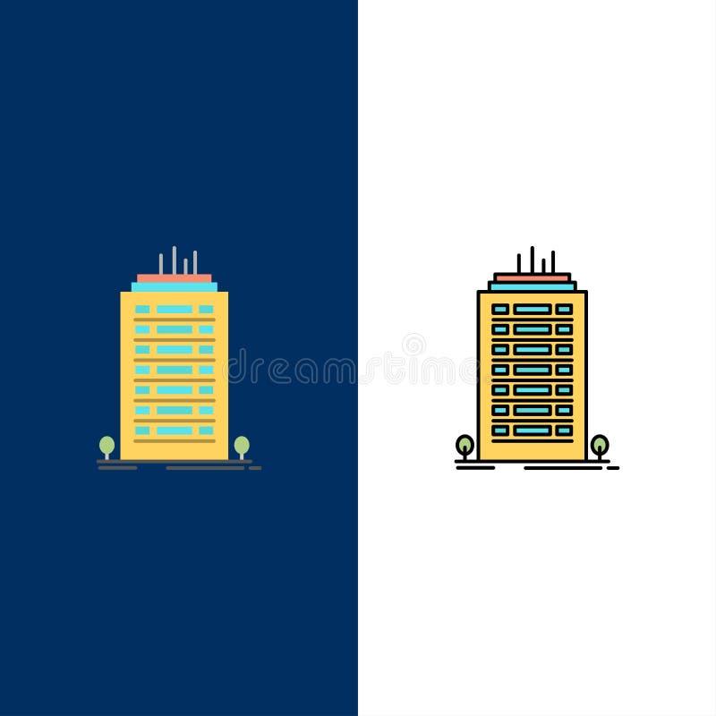 大厦,办公室,摩天大楼,塔象 舱内甲板和线被填装的象设置了传染媒介蓝色背景 向量例证