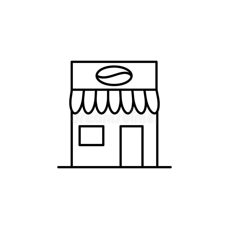 大厦,咖啡概述象 建筑学例证的元素 优质质量图形设计概述象 标志和标志 向量例证