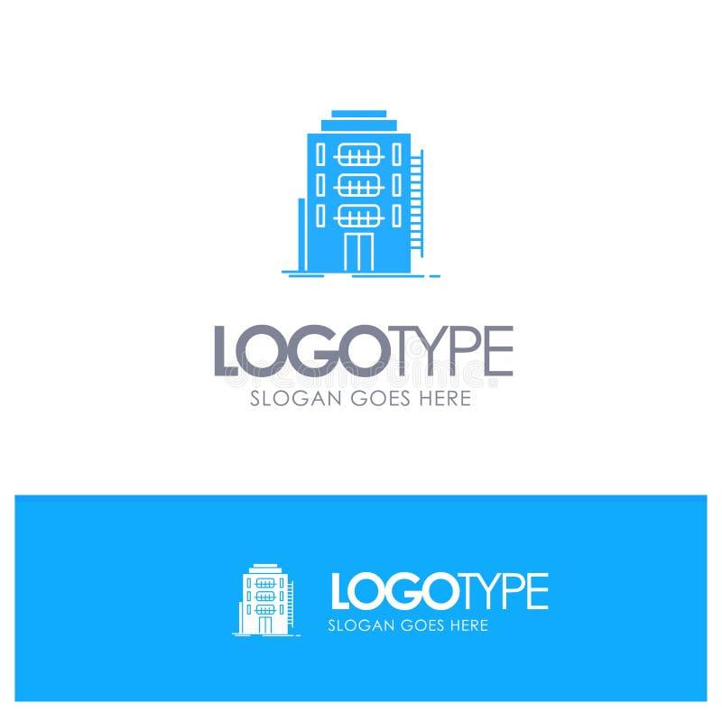 大厦,城市,宿舍,旅舍,与地方的旅馆蓝色坚实商标口号的 库存例证