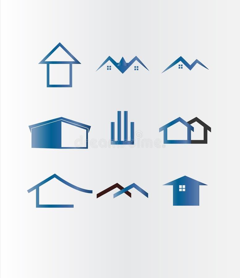 大厦,家,不动产您的公司的商标集合 向量例证