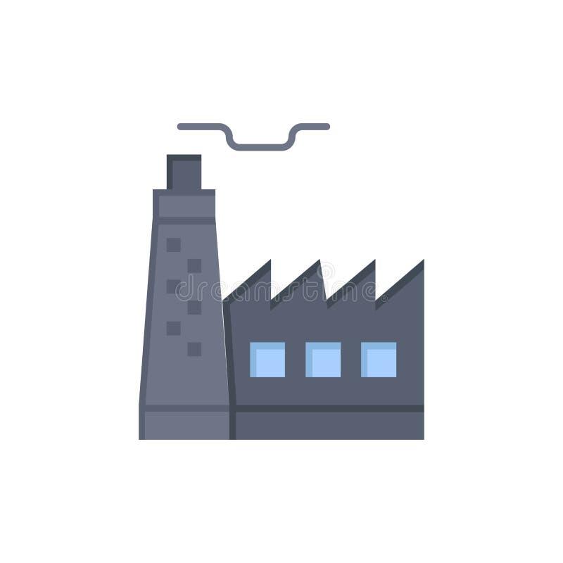大厦,工厂,建筑,产业平的颜色象 传染媒介象横幅模板 库存例证