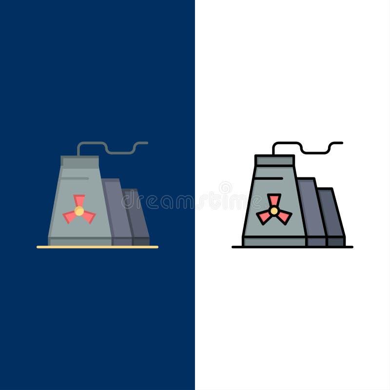 大厦,建筑,工厂,产业象 舱内甲板和线被填装的象设置了传染媒介蓝色背景 库存例证