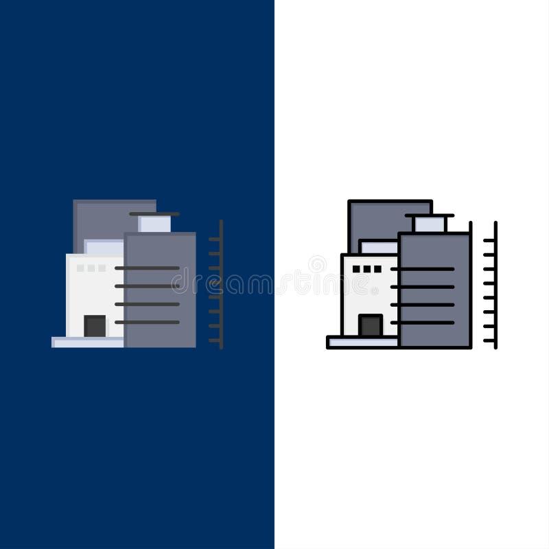 大厦,建筑,工厂,产业象 舱内甲板和线被填装的象设置了传染媒介蓝色背景 皇族释放例证