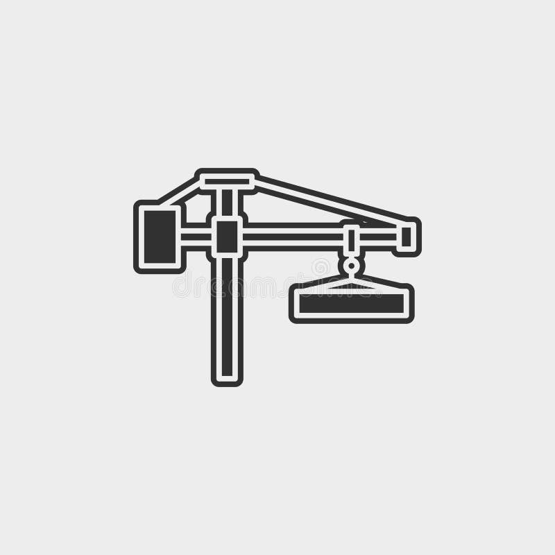 大厦,建筑,起重机,象,平的例证被隔绝的传染媒介标志标志-建筑工具象传染媒介黑的传染媒介 库存例证