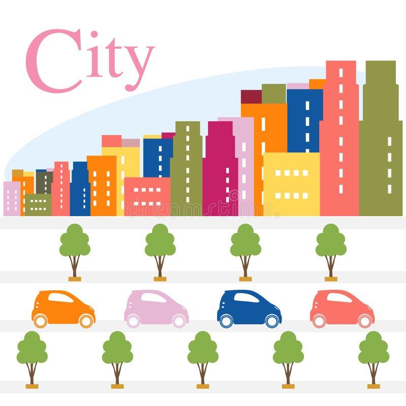 大厦,树,街道,汽车 城市全景 库存例证