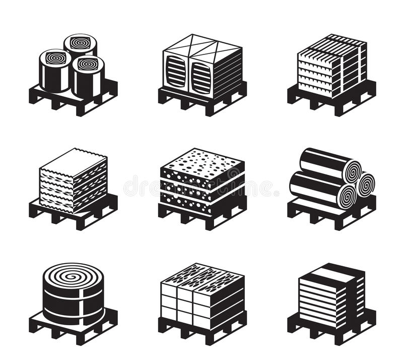 大厦绝缘材料的不同的类型 向量例证