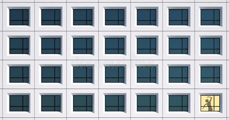 大厦Windows和妇女在黄色光窗口里 库存图片