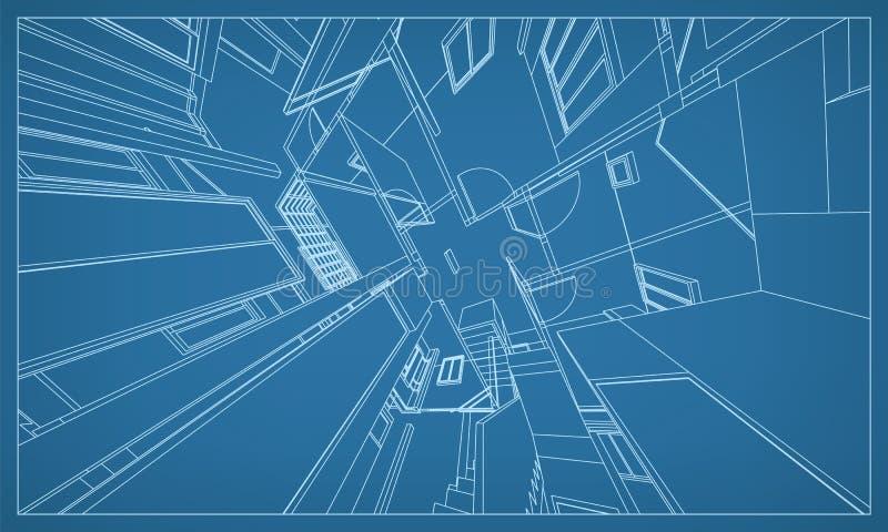 大厦wireframe结构抽象3D翻译  向量 皇族释放例证