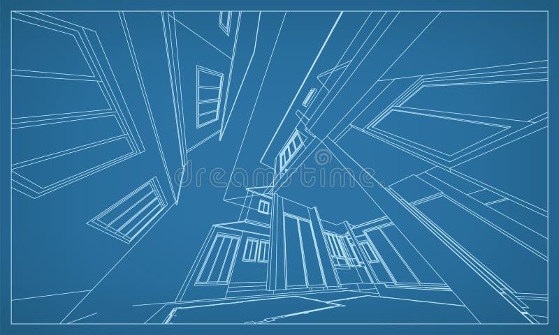 大厦wireframe结构抽象3D翻译  向量 库存例证
