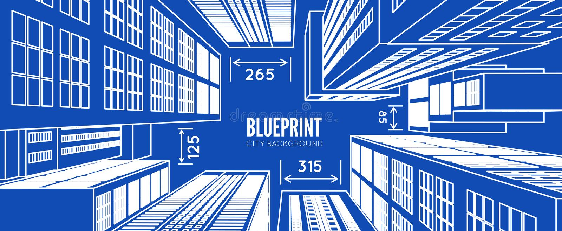 大厦wireframe 3d回报城市 向量例证