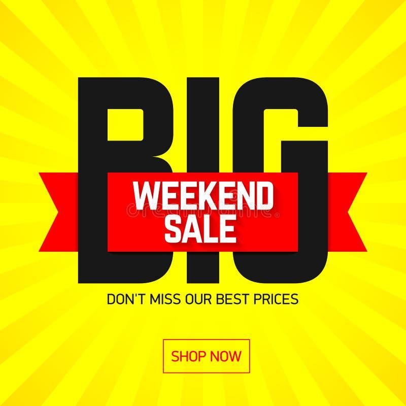 大周末超级销售横幅 向量例证