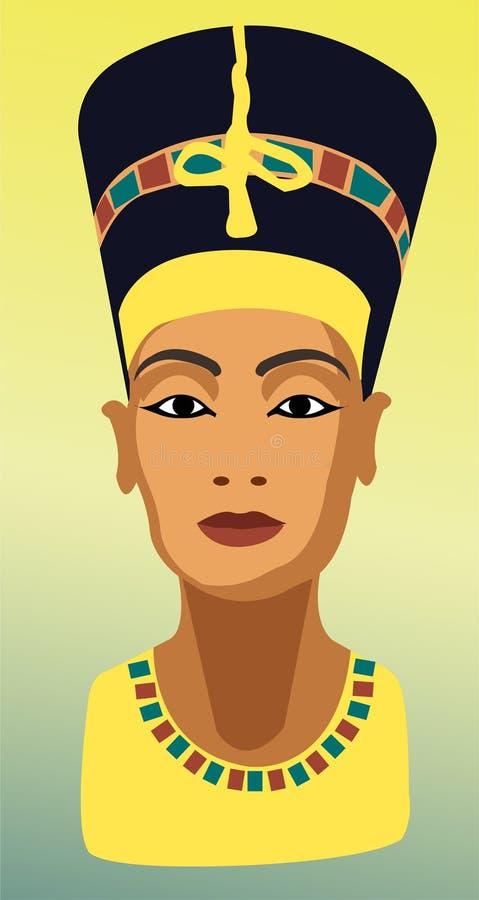大和光彩的nefertiti埃及文明的女王/王后 向量例证